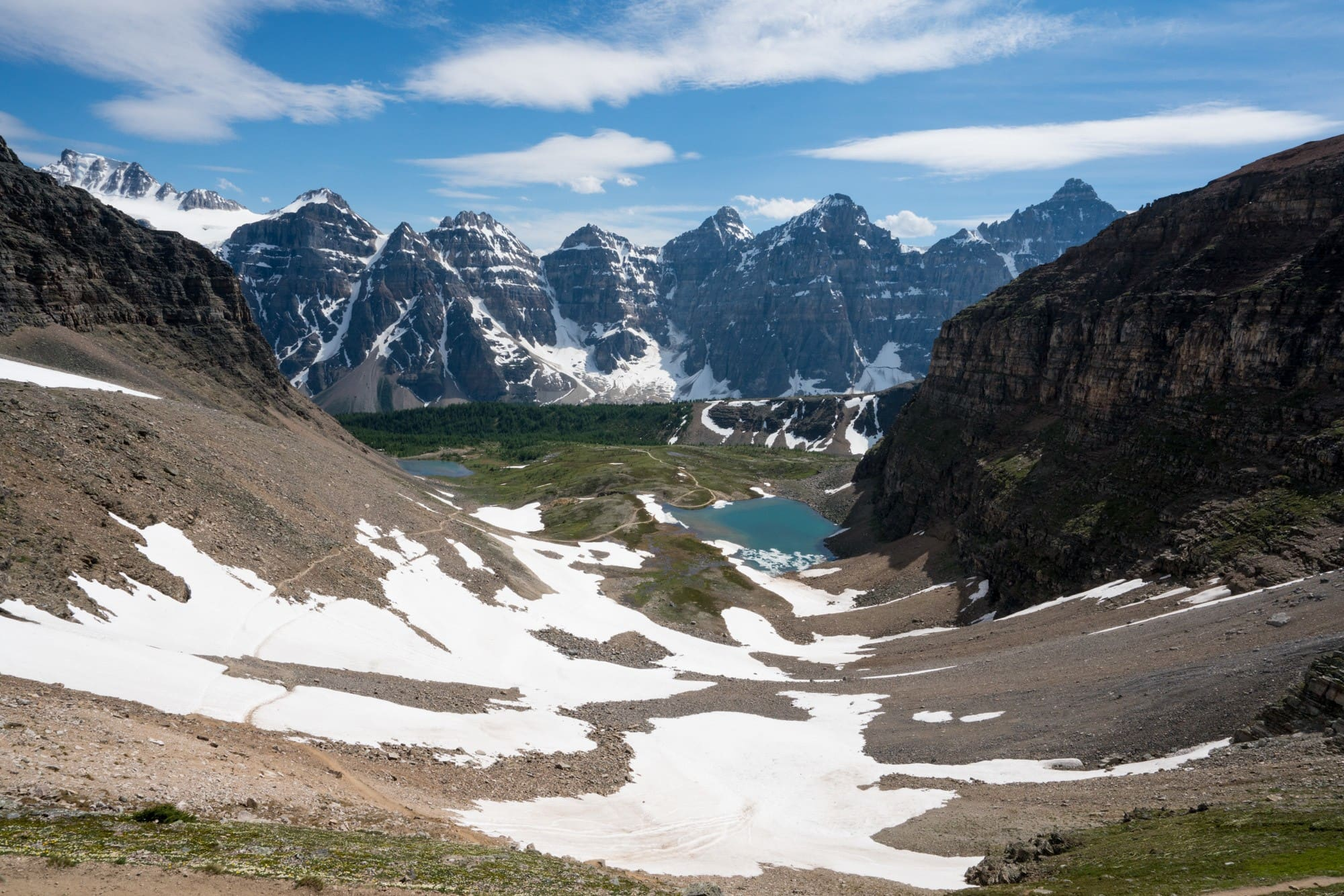 Sentinal Pass - Banff - A list of the most scenic hiking trails, bike paths, kayaking and all the best outdoor activities to do in Banff in the early summer.
