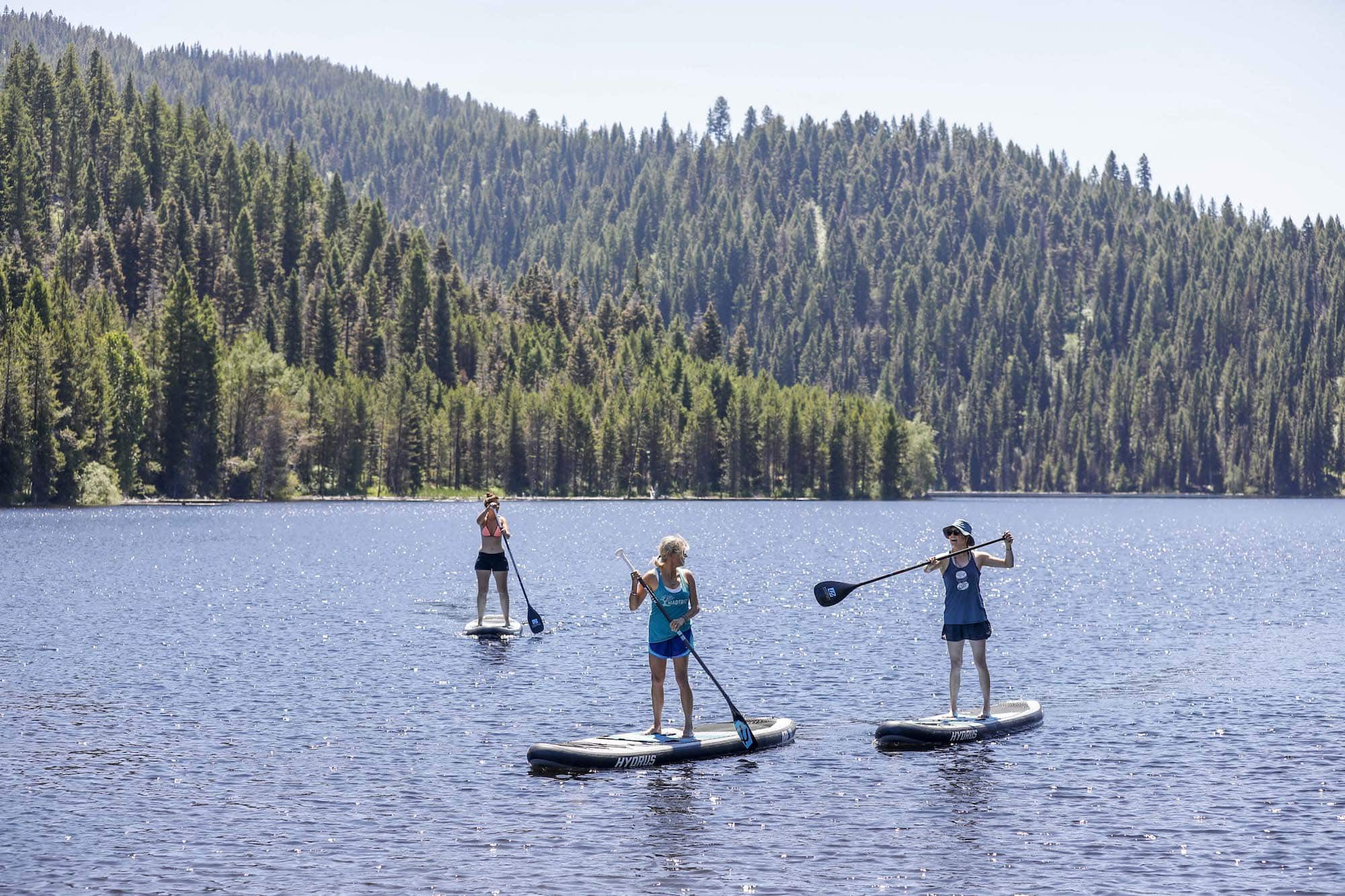 Paddle boarding at Open Roads Fest with free paddle board demos provided by Boise-based Hydrus paddle boards