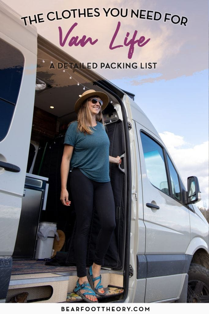 Adventurous women! Minimize your wardrobe for van life with this van life clothing packing list featuring functional and verstaile pieces for road tripping.