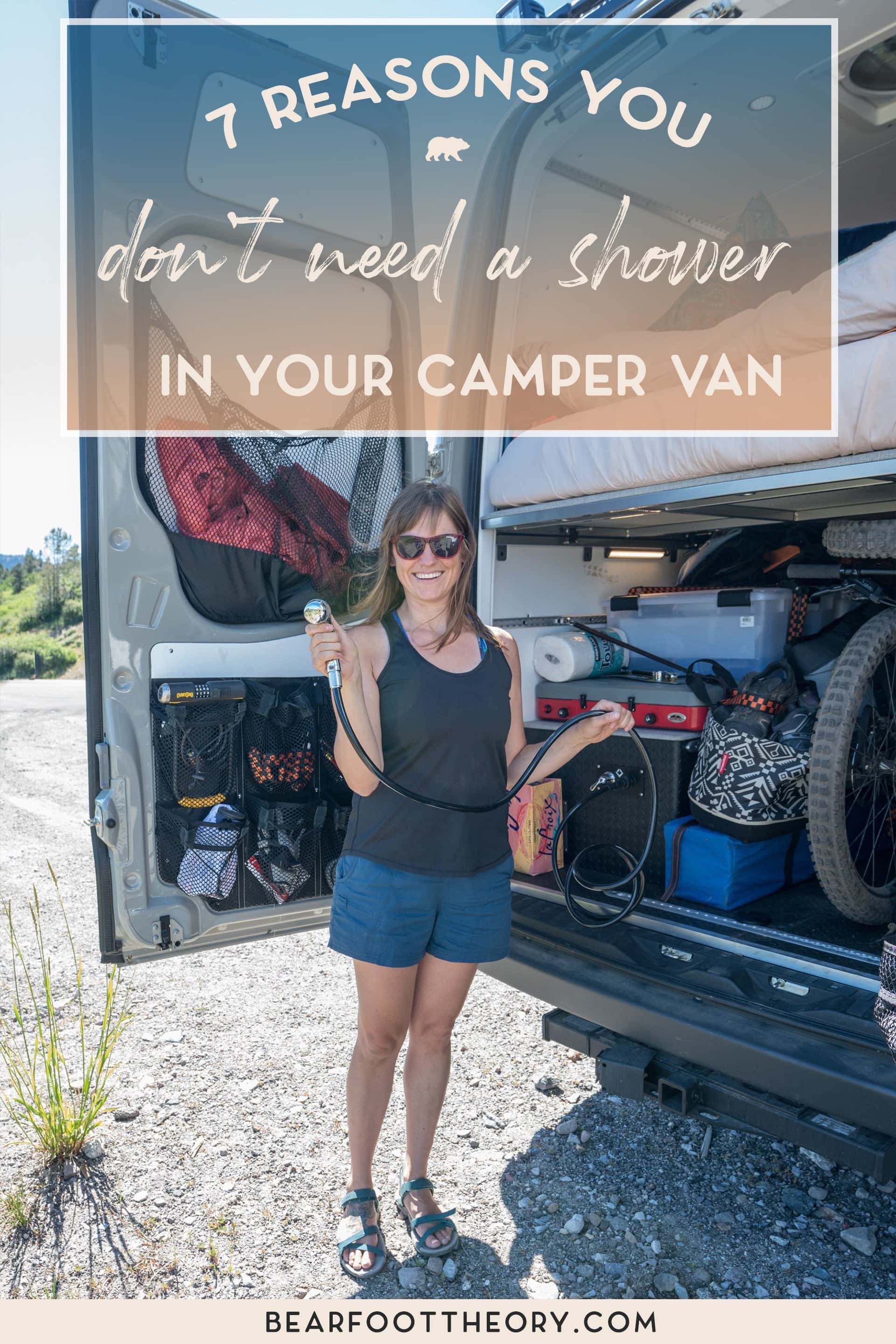 Having a shower in your camper van sounds nice, but it's expensive and unnecessary. Here are 7 reasons you don't need a shower in your converted van.