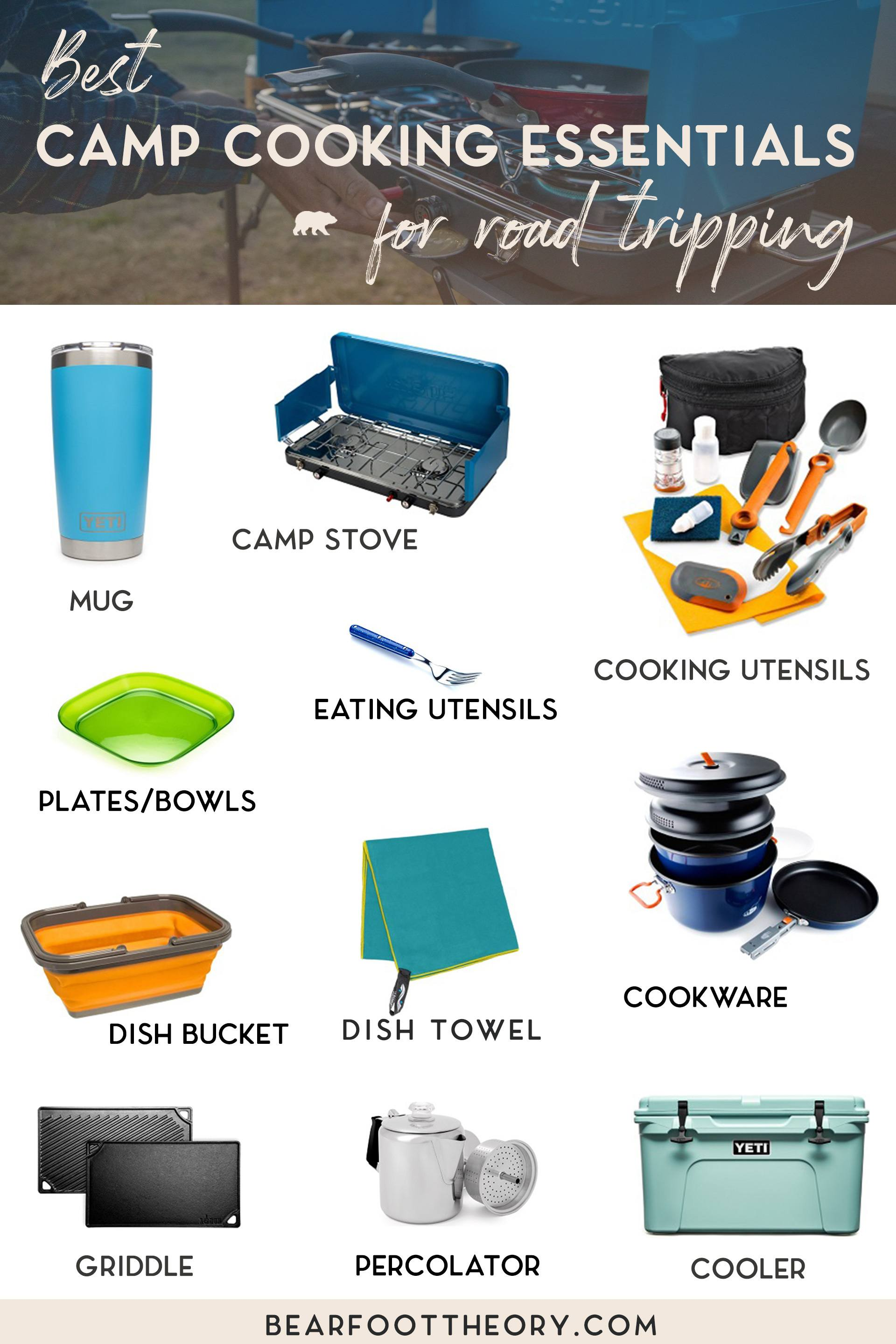 Save money on your road trip by cooking your own meals. Here is the complete checklist of the best camp cooking essentials for your outdoor kitchen.