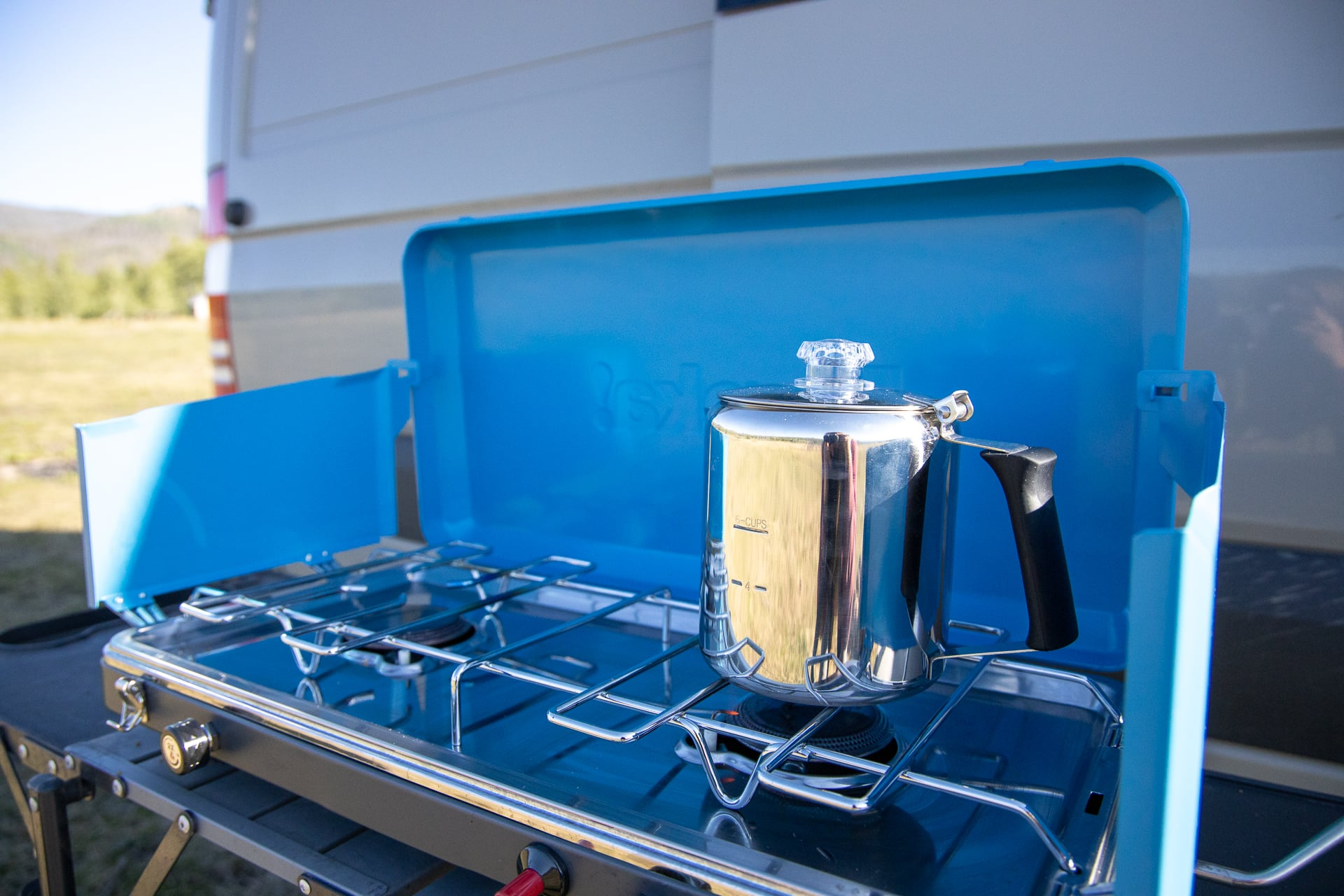 Stainless Steel Percolator by GSI Outdoors // Save money on the road by bringing your own camp cooking gear. Here is our checklist for the best outdoor camp kitchen cooking essentials.