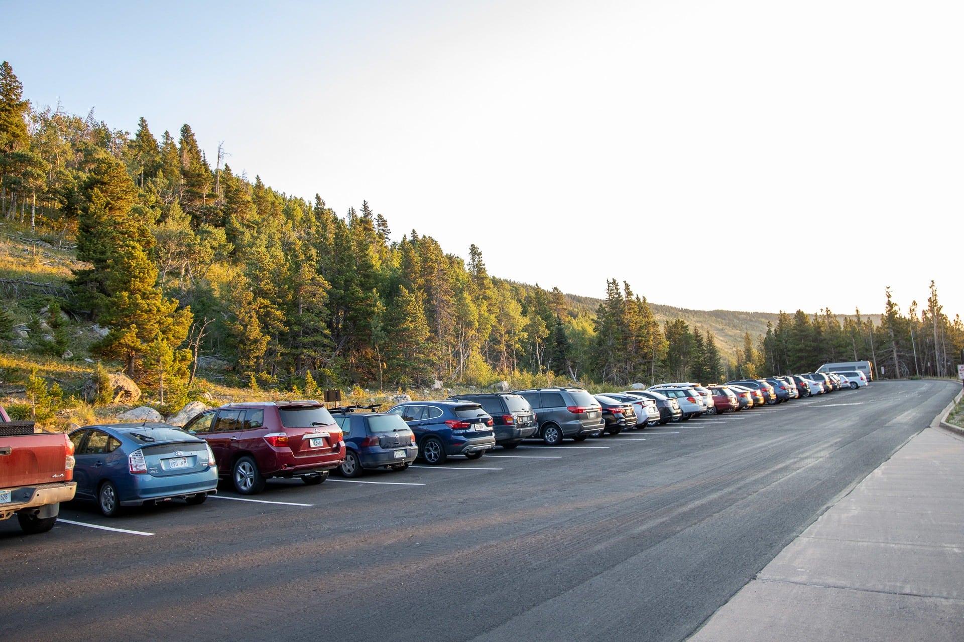 Parking lot at Glacier Gorge