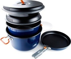 The GSI Base Camper Cookset is the perfect gift for any camp chef and comes with all the pots and pans you need.