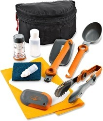 GSI Kitchen Essentials Kit // Save money on the road by bringing your own camp cooking gear. Here is our checklist for the best outdoor camp kitchen cooking essentials.