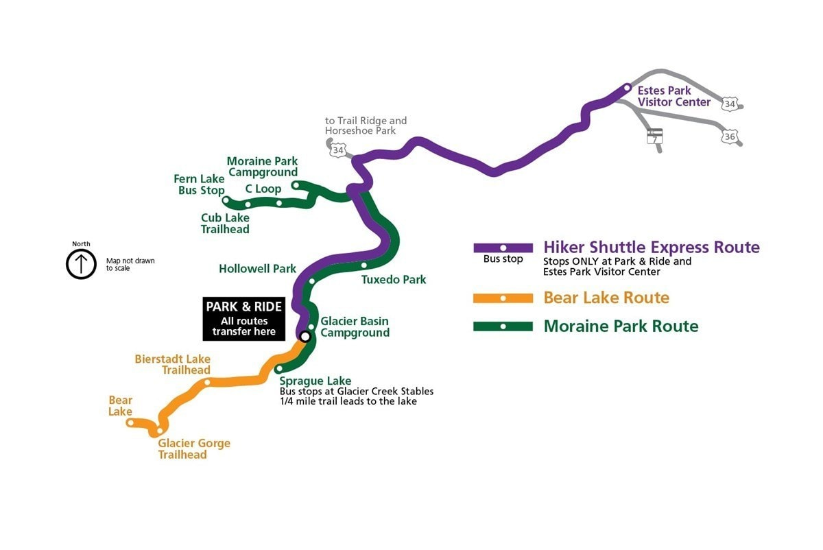 Rocky Mountain National Park shuttle system map