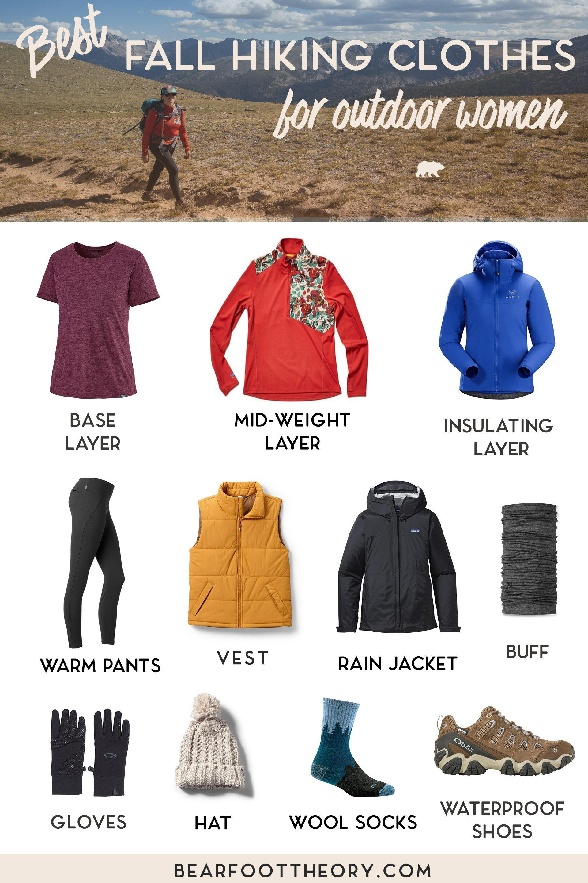 Learn what to wear hiking in fall with our checklist of the best fall hiking clothes for women that are breathable, wick sweat, keep you warm AND look good.