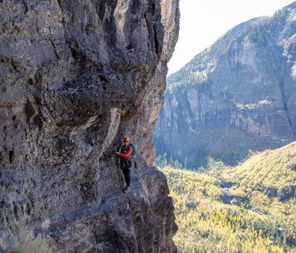 The Telluride Via Ferrata is a fun, thrilling mix of climbing & hiking where you use special equipment to traverse a steep cliff. Plan your trip with these tips.