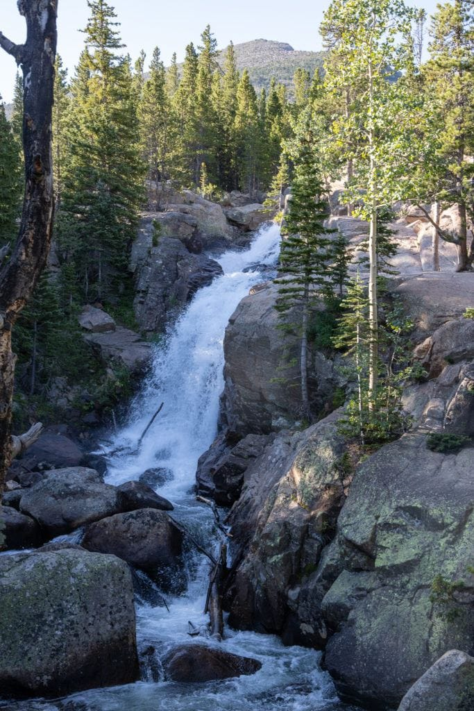 Alberta Falls from Sky Pond Trail via Glacier Gorge Trail // Get our guide to the best day hikes in Rocky Mountain National Park including distances, trail descriptions, what to be prepared for, and more.