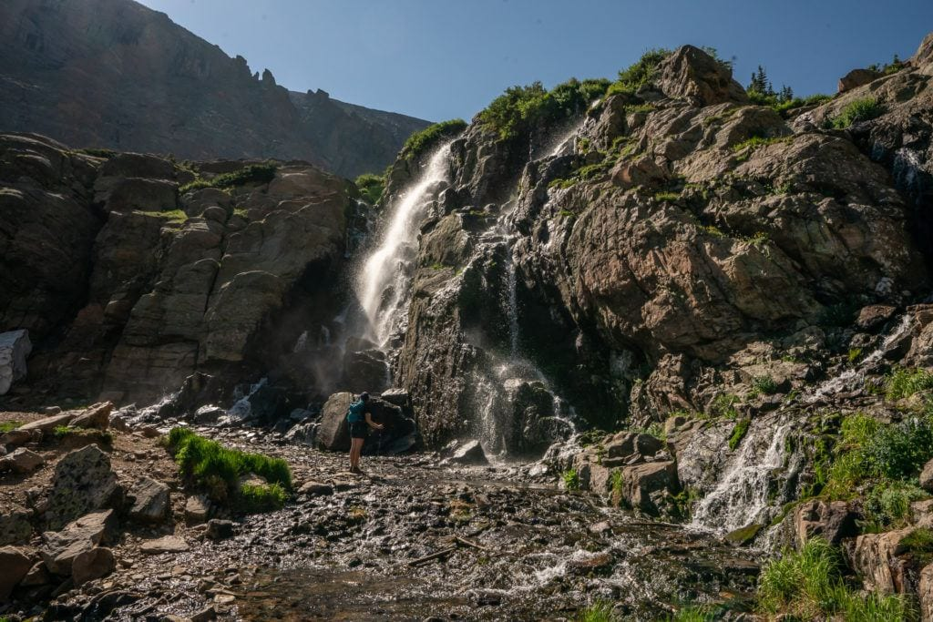Timberline Falls from Sky Pond Trail via Glacier Gorge Trail // Get our guide to the best day hikes in Rocky Mountain National Park including distances, trail descriptions, what to be prepared for, and more.