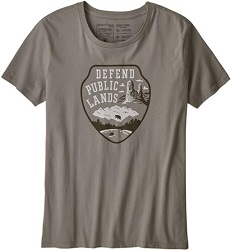 Patagonia's defend public lands tshirt is an eco friendly gift that makes a statement and gives back.
