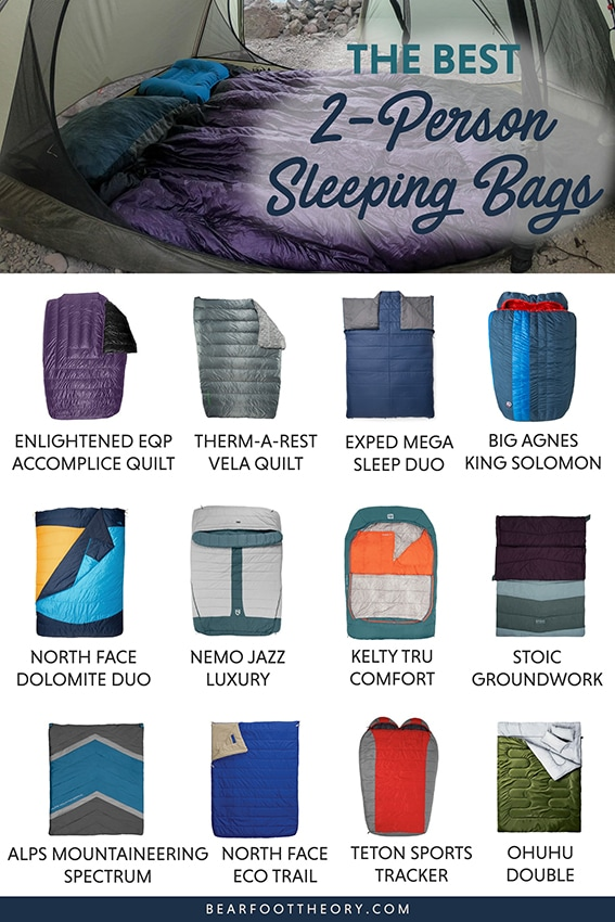 Get cozy with the best double sleeping bags including warm, comfortable two person options ideal for camping and backpacking.