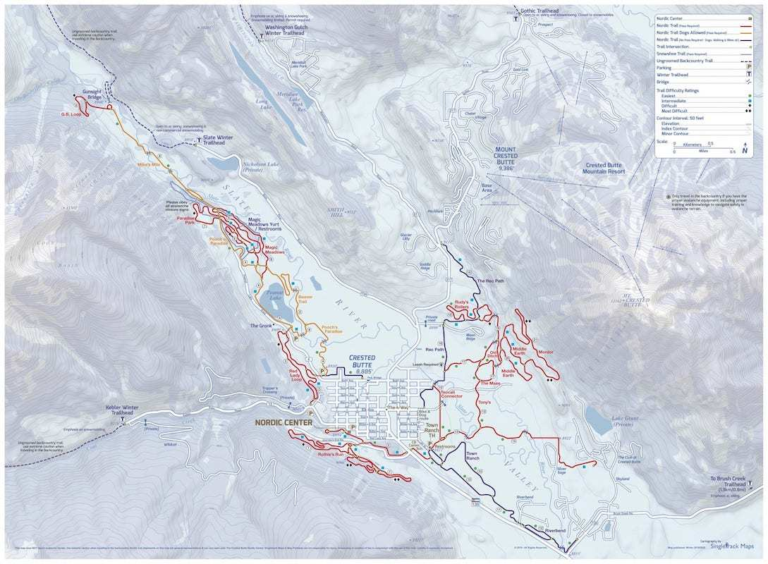 Crested Butte Nordic Trails Map // Enjoy the winter wonderland of Crested Butte Colorado for skiing, biking, good food, and more. Check out this complete Crested Butte winter travel guide!