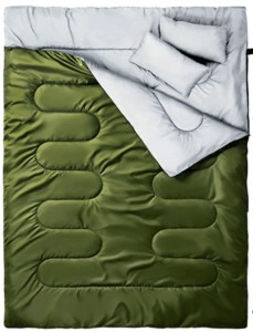 Ohuhu Double Sleeping Bag // Here are the best double sleeping bags of 2021. Get cozy with these warm, comfortable 2-person options ideal for camping and backpacking.
