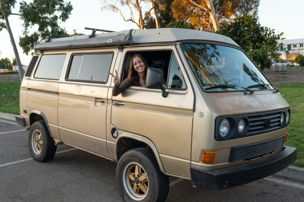 Compare the different vans for van life. Learn the difference of the Sprinter vs Transit vs Promaster (& more) and dive into details like 4x4 & length. Pictured here is a VW Vanagon