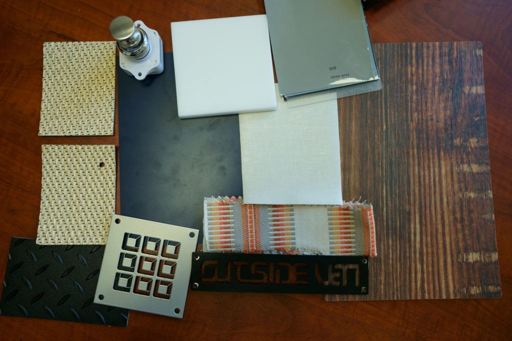 Color palette for Bearfoot Theory's custom campervan conversion by Outside Van