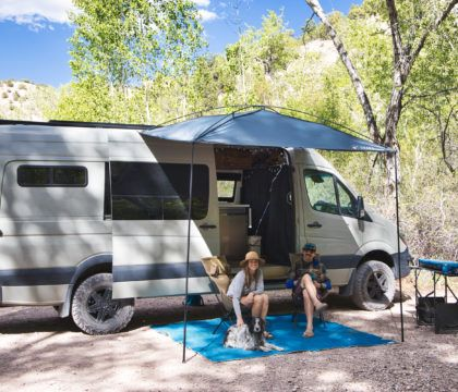 The Moonshade is a portable, versatile, budget-friendly camper van awning that packs down to the size of a camp chair and also works on trucks and SUVs.