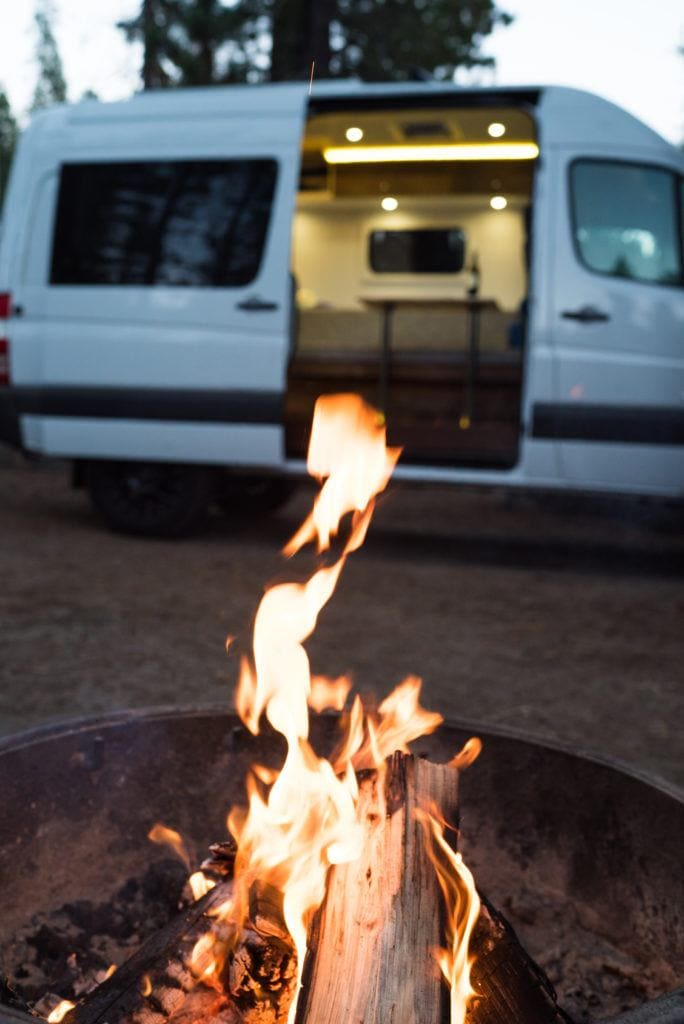 Learn how to properly follow Leave No Trace principles for van life while living in a van including fire safety and how to poop in the woods.