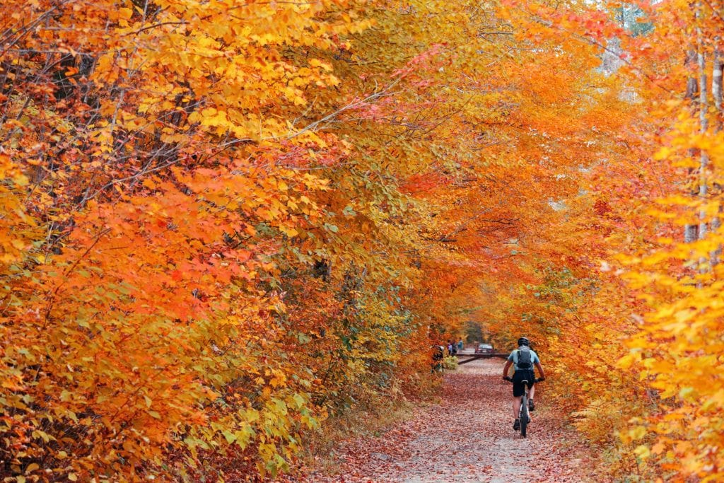 Burlington Bike Path // Plan your Vermont Fall Foliage road trip with our guide on where see the best fall colors including scenic leaf-peeping drives and more.