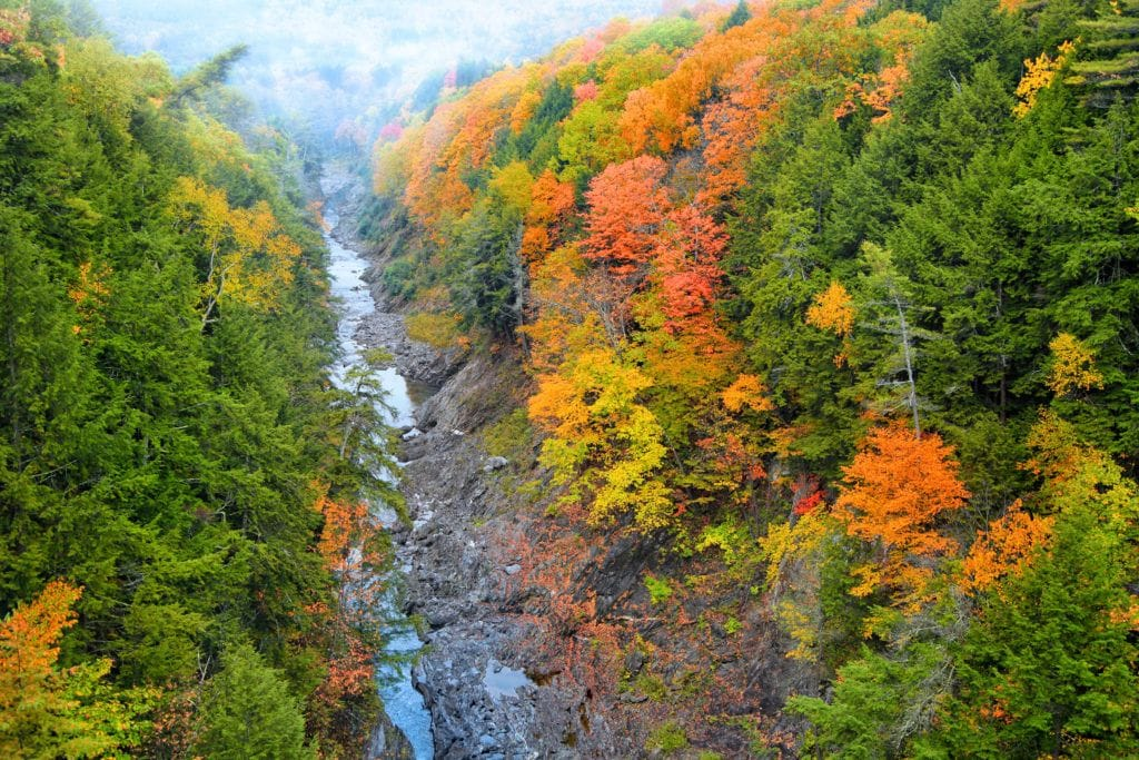 Quechee Gorge // Plan your Vermont Fall Foliage road trip with our guide on where see the best fall colors including scenic leaf-peeping drives and more.