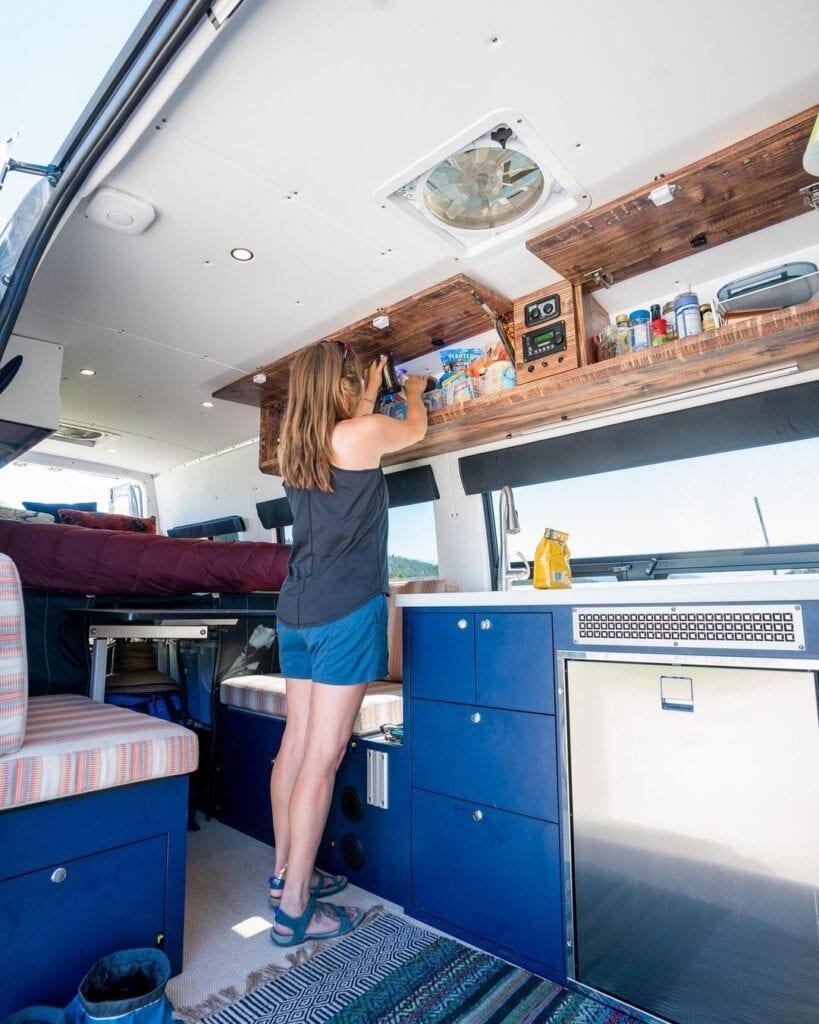 Bearfoot Theory's Sprinter Van kitchen