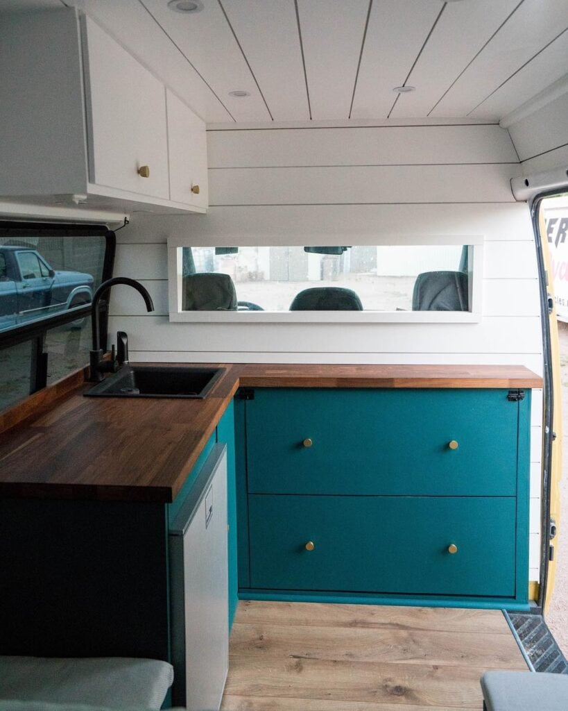 Mobile kitchen by @ourhomeonwheels / Check out these van galleys for ideas on layout, appliances, storage, and more