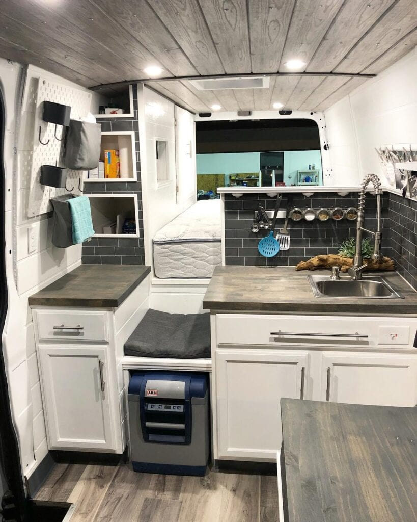Van kitchen by @vananahammock / Check out these van galleys for ideas on layout, appliances, storage, and more