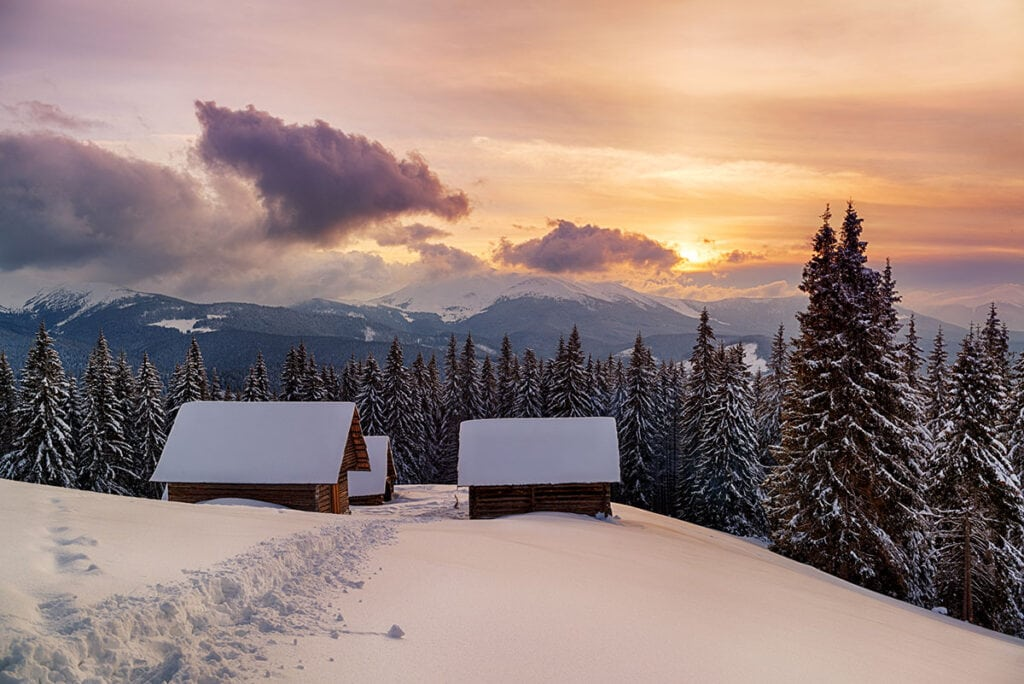 Winter backcountry hut // Hit the slopes or cruise the coast with these top winter destinations for outdoor adventure whether you're looking for warm weather or snow.