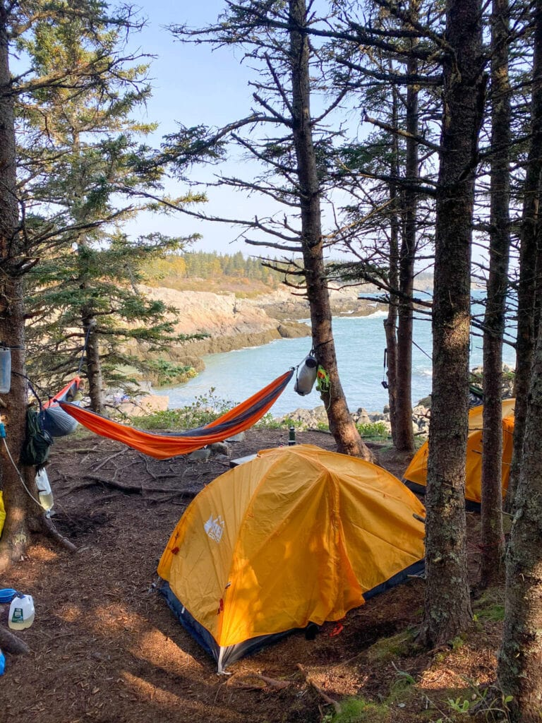 Backpacking campsite on the Cutler Coast trail on Maine's Bold Coast