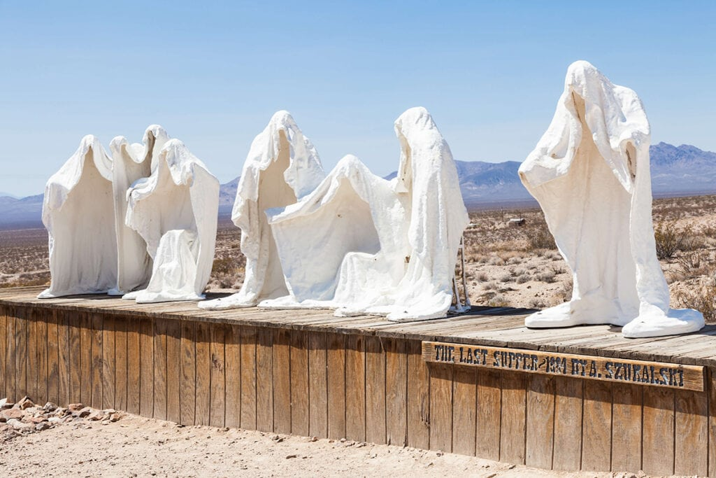 Rhylolite - Goldwell Open Air Museum / These Nevada ghost towns are the coolest in the state. Learn where to go & what to do with these Nevada Ghost Town travel tips.