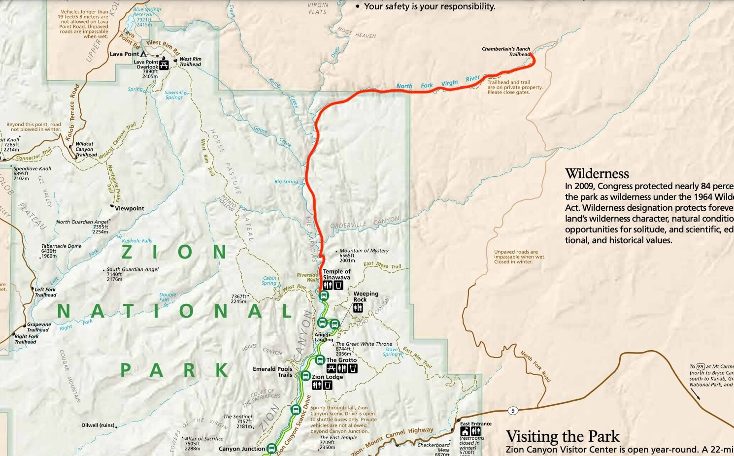 Zion Narrows map // Hiking the Zion Narrows is one of the best adventures in Zion National Park. Learn how to get a permit, book a shuttle to the start & more.