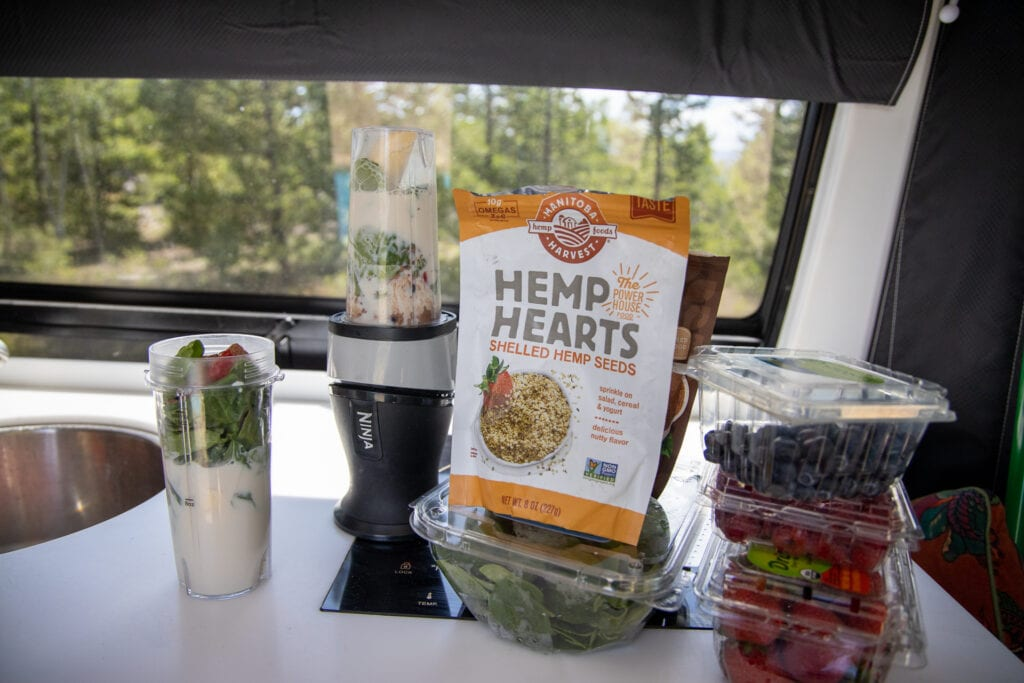 Smoothies are a great van life cooking idea for breakfast