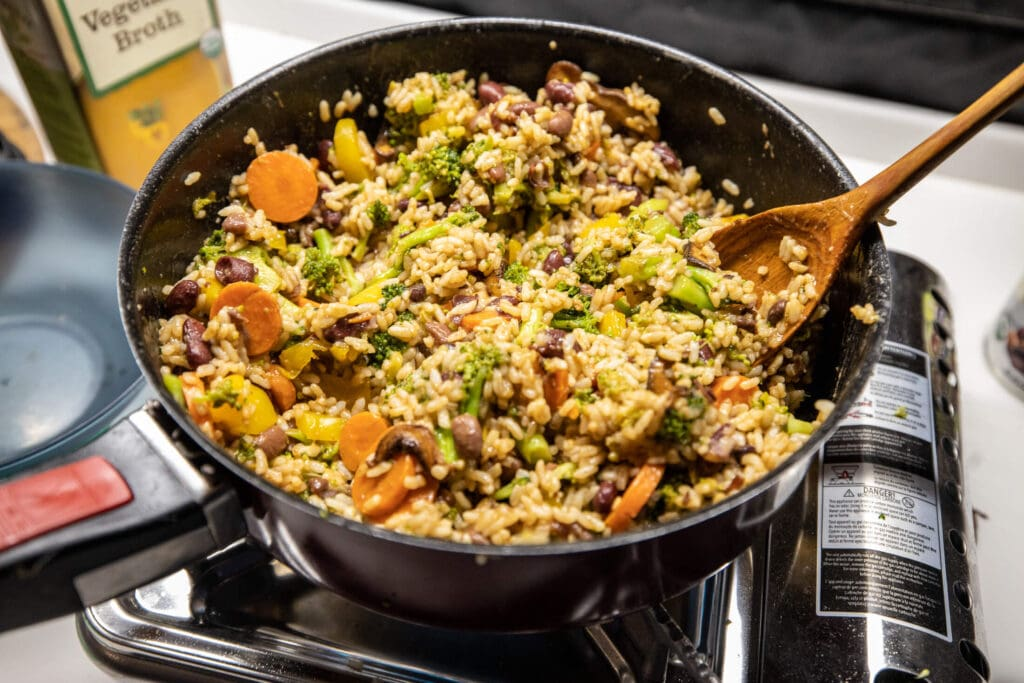 One pot meals are great for cooking inside a van
