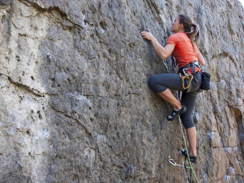 Rock climbing // Strength training, like rock climbing or online workouts are perfect for thru-hiking training