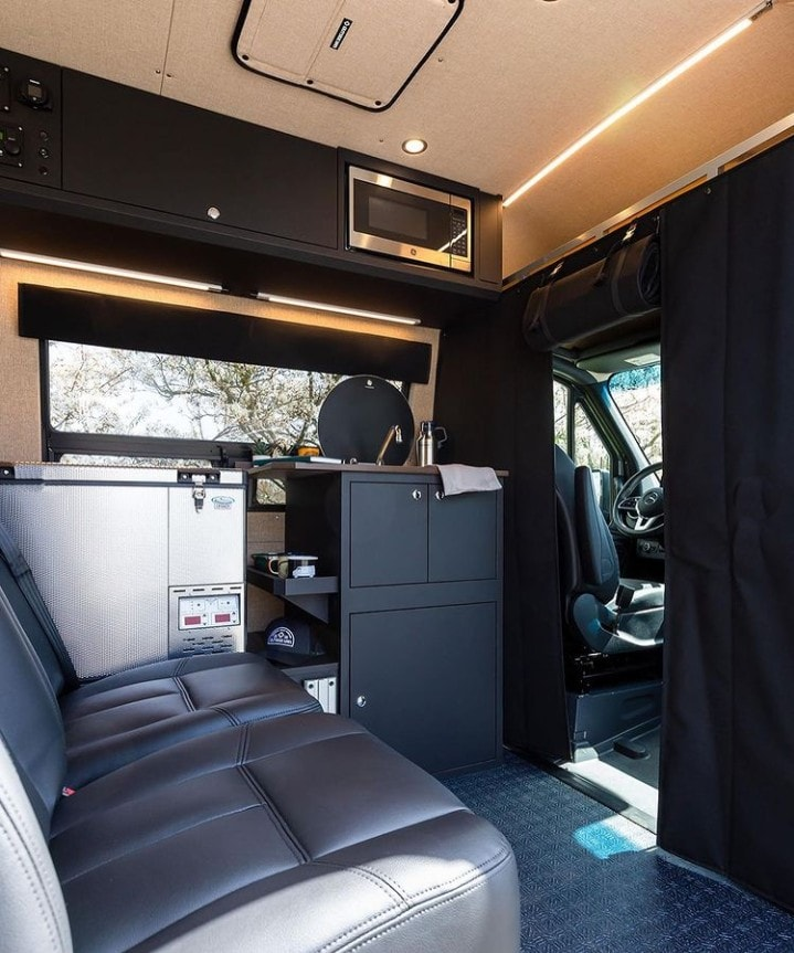 Sprinter van kitchen by Outside Van / Check out these van galleys for ideas on layout, appliances, storage, and more.