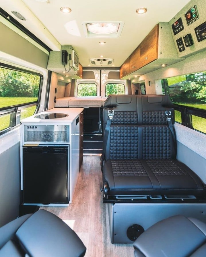Sprinter van kitchen by Storyteller Overland / Check out these van galleys for ideas on layout, appliances, storage, and more.