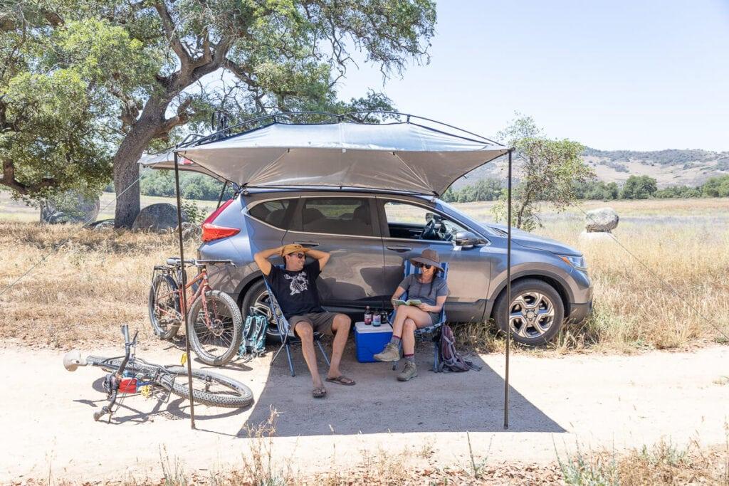 MoonShade vehicle awning for shade at camp