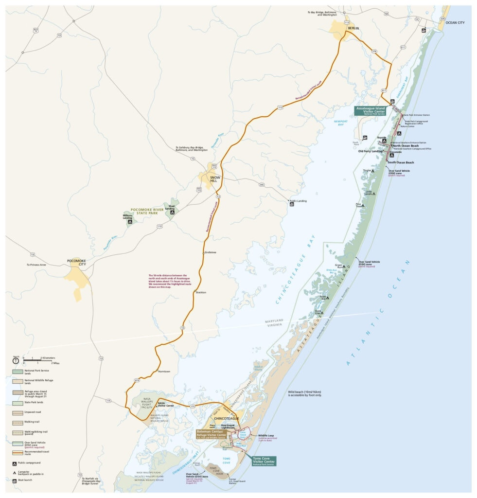 Assateague Island map // Learn our best Assateague Island camping tips and how to explore the Island's bike paths, wide-open beaches, beautiful forests, and more.