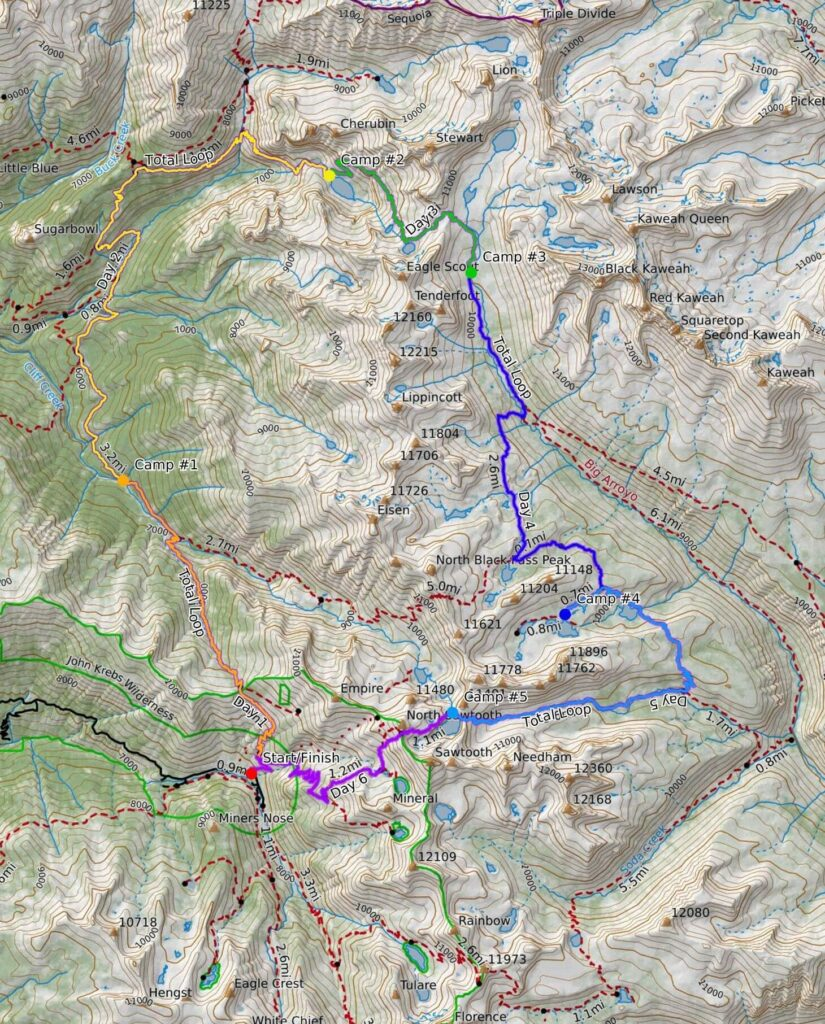 Mineral King Loop map in Sequoia National Park