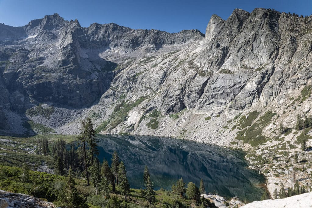 View of Hamilton Lake from above on the Mineral King Loop in Sequoia National Park