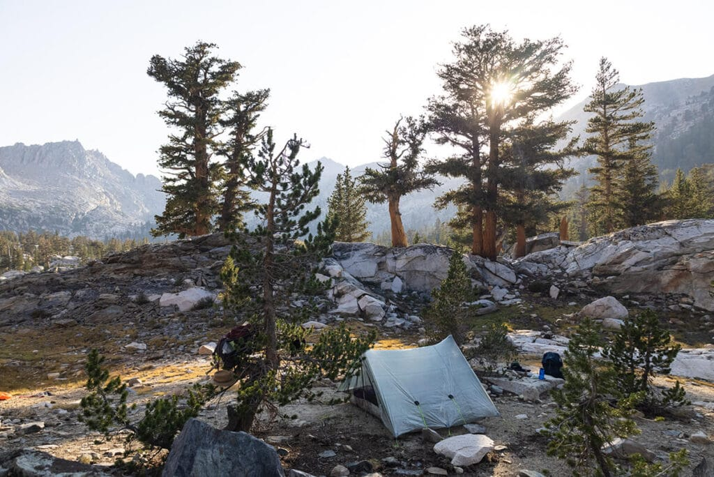 Campsite at Big Five Lakes on the Mineral King Loop in Sequoia National Park