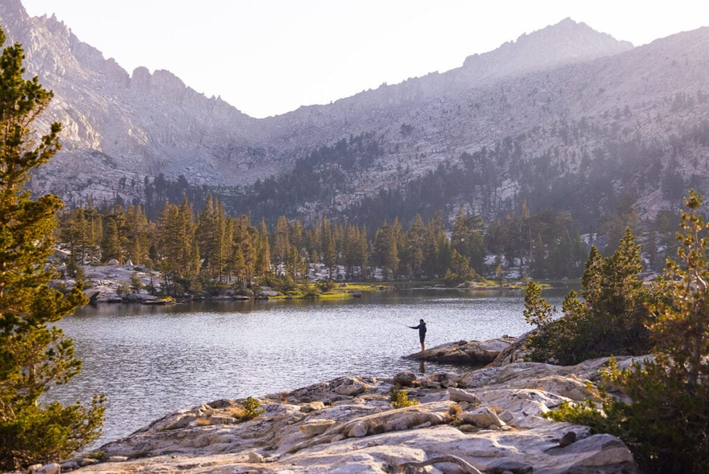 Fly fishing at Big Five Lakes on the Mineral King Loop in Sequoia National Park