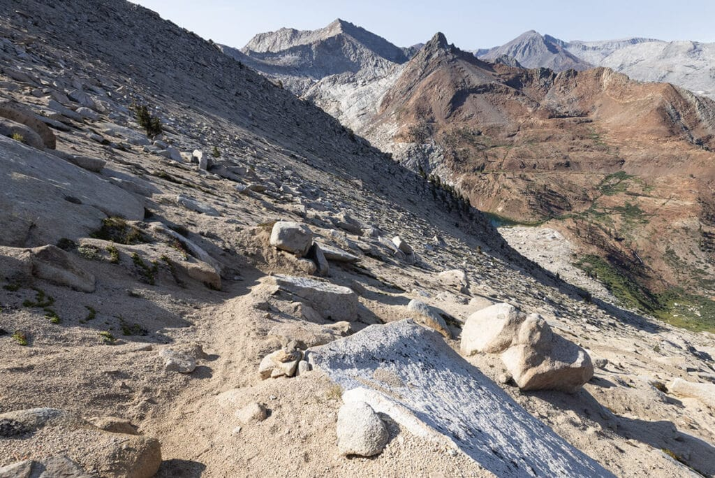 The sandy Sawtooth Pass descent (or climb) on the Mineral King Loop in Sequoia National Park