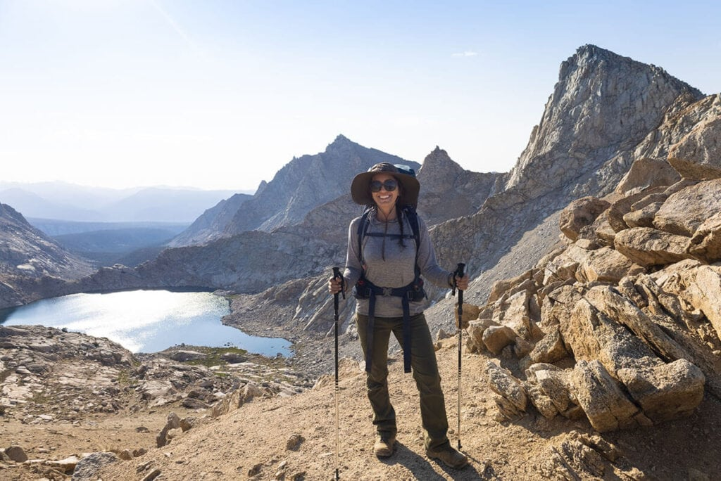 Linda hiking in the prAna Halle pants / Check out the best deals on our favorite outdoor gear and clothing and save big during the REI Labor Day Sale with discounts up to 30% off!