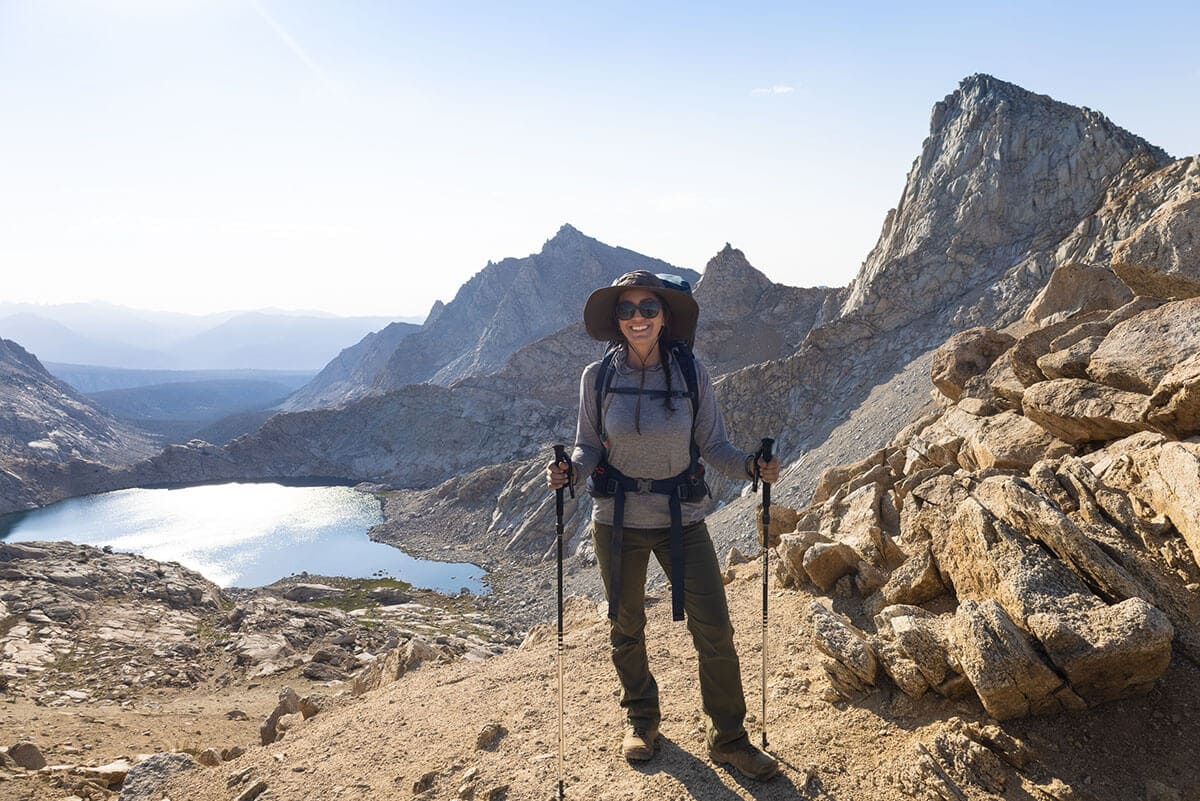 Linda hiking in the prAna Halle pants / Check out the best deals on our favorite outdoor gear and clothing and save big during the REI Labor Day Sale with discounts up to 25% off!