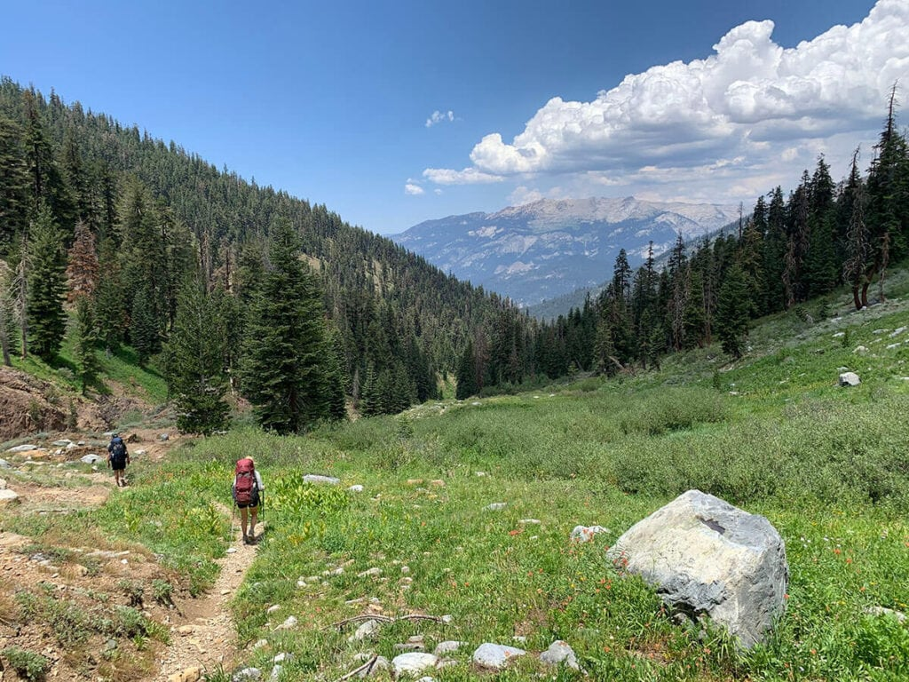 After hiking over Timber Gap on the Mineral King Loop trail in Sequoia National Park