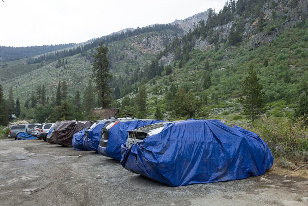 Marmot tarp car protection at the trailheads in the Mineral King area