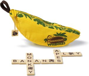 Bananagrams WildTiles // Check out our list of 15 fun, lightweight, and packable camping games that can be played in your tent, car, or around the fire.