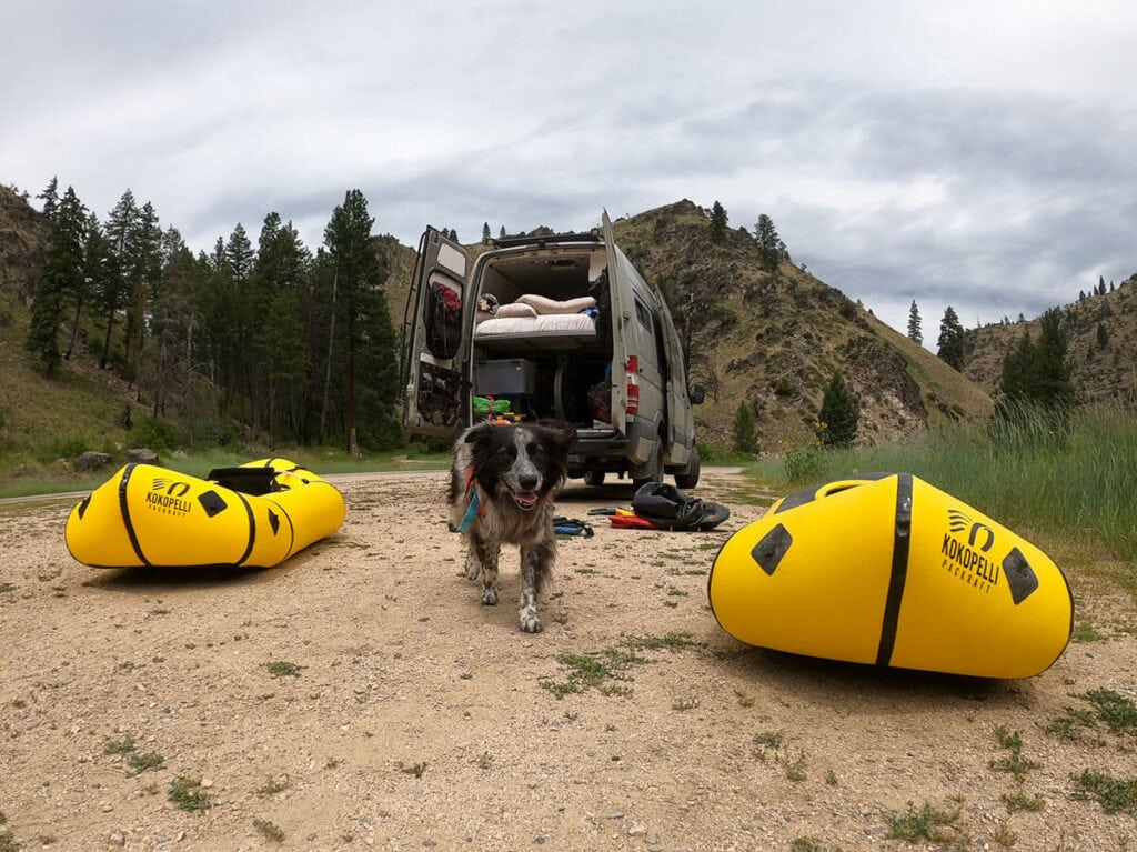 Inflatable packrafts outide our Sprinter van / Here's how to help prevent the spread of aquatic invasive species by following Clean Drain Dry whether you're rafting, kayaking, or boating.
